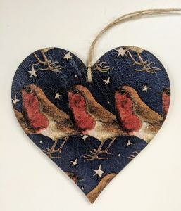 10cm Hanging Heart in Emma Bridgewater Robin in a Starry Night